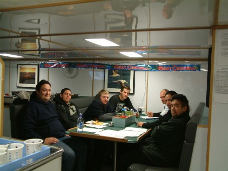 SOP (Safe Operating Procedures) briefing, Left to right, Tangi ( 1st mate) Shand, Noel, Theo (boson), Aaron, Chevy and Kahu.
